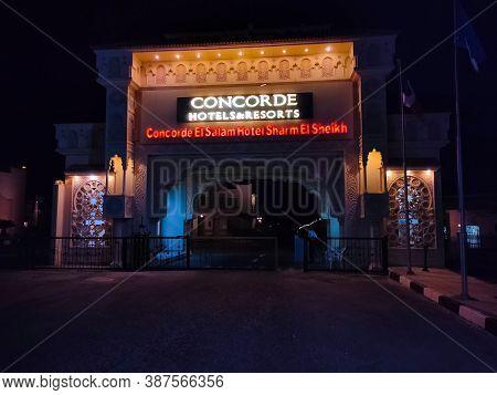 Sharm El Sheikh, Egypt - September 9, 2020: The Entrance Sign Of Hotel Concorde El Salam Hotel At Sh