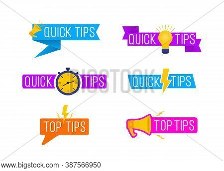 Quick Tips, Helpful Tricks Logos, Emblems And Banners Vector Set. Helpful Tricks Logos And Banners,