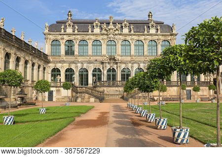 Dresden, Germany - September 23, 2020 : 18th Century Baroque Zwinger Palace, View Of Mathematisch-ph