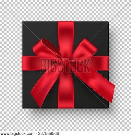 Black Gift Box With Red Ribbon. Elegant Present With Bow Isolated On Transparent Background. Special