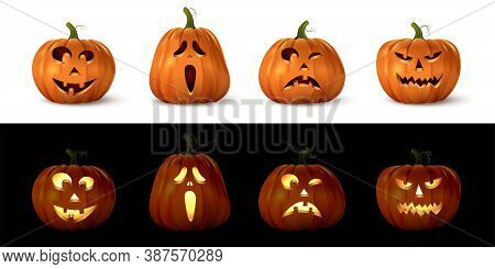 Halloween Carved Spooky Pumpkin Set. Isolated Smiling, Cute, Funny, Happy, Scary, Creepy Faces. Octo