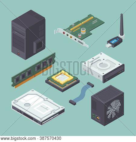 Personal Equipment Computer Isometric Set. Black Power Supply Dvd Player Modern Green Audio Card Ram