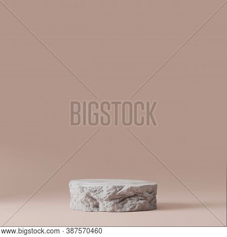 3d Gray Stone Podium Display. Copy Space Beige Background. Cosmetics Or Beauty Product Promotion Moc
