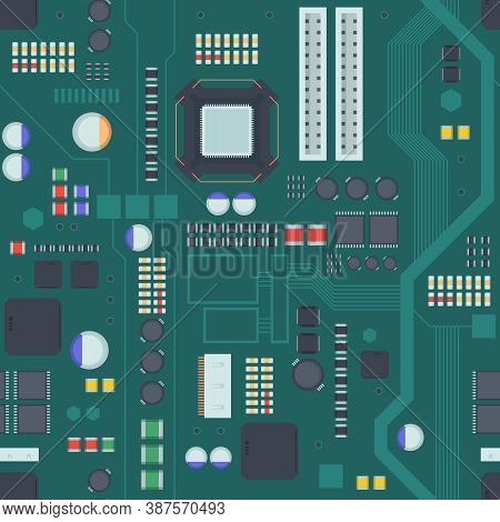 Computer Motherboard Seamless Pattern. Board Green With Inputs Connecting Plata Electronic Red Micro