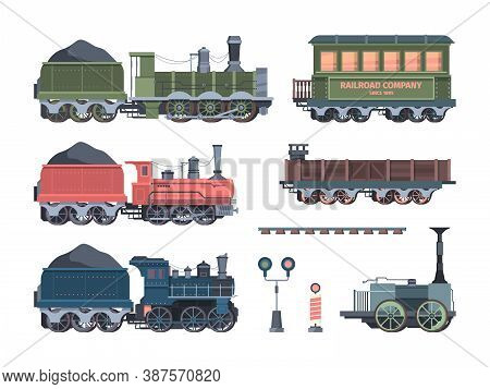 Old Steam Locomotives Set. Comfortable Green Cars Semaphores Retro Powered Trains Coal Trailers Clas