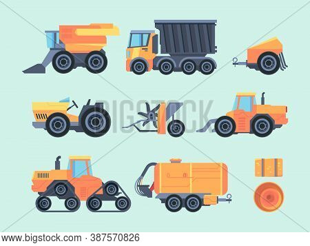 Agricultural Mechanisms And Machines Set. Farm Tractor Specialized Mower Mechanical Seeder Automatic