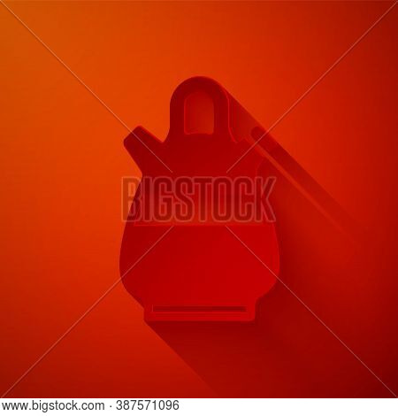 Paper Cut Sangria Pitcher Icon Isolated On Red Background. Traditional Spanish Drink. Paper Art Styl