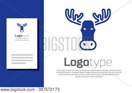 Blue Moose Head With Horns Icon Isolated On White Background. Logo Design Template Element. Vector
