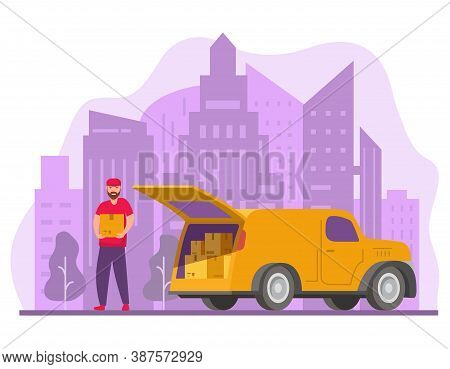 Delivery Service And Logistics.mover Unloading Cardboard Boxes From Van.man Unloading Box From Truck
