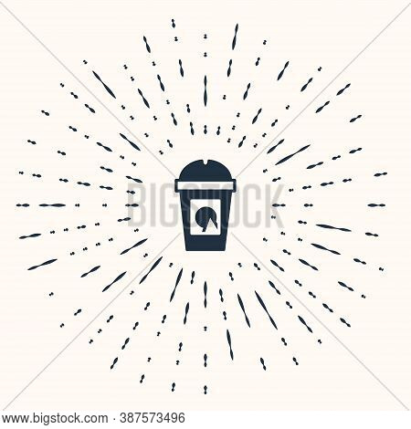 Grey Coffee Cup To Go Icon Isolated On Beige Background. Take Away Print. Abstract Circle Random Dot