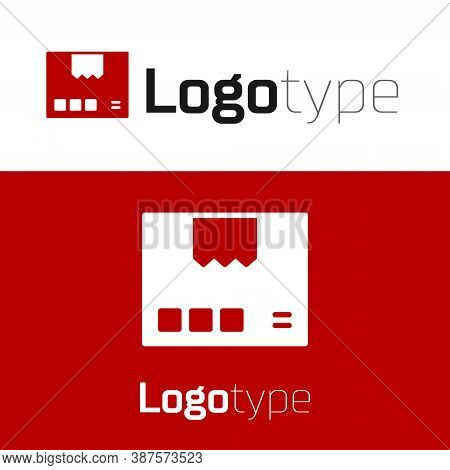 Red Carton Cardboard Box Icon Isolated On White Background. Box, Package, Parcel Sign. Delivery And
