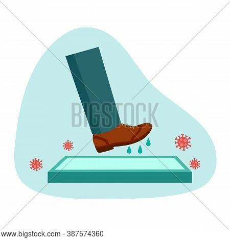 Man Walking On Disinfection Mat To Clean Shoe From Covid-19 Coronavirus And Bacteria. Healthcare Con
