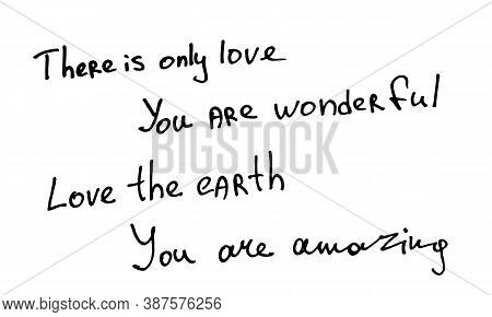 Handlettering Quotations About Love. Handwritten Text Isolated On White Background. Vector Illustrat