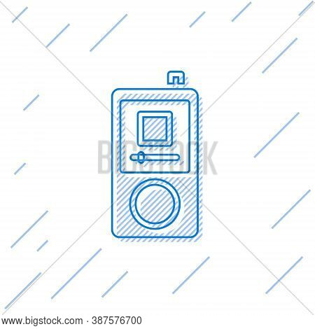 Blue Line Music Player Icon Isolated On White Background. Portable Music Device. Vector
