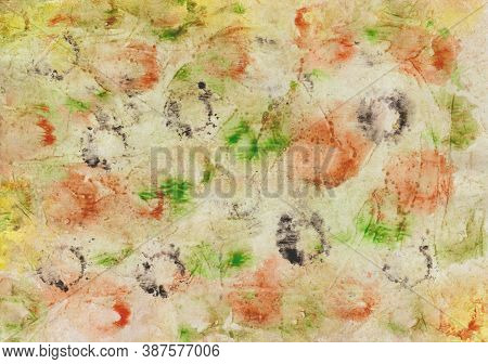 Watercolor Painting With Color Blotches And Prints In Red, Yellow, Green, Ocher And Black