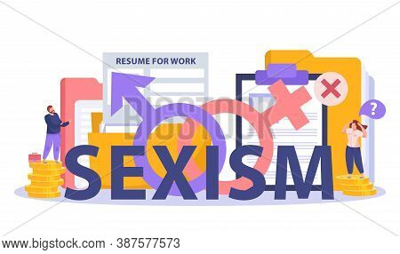 Sexism Discrimination Hiring Salary Gap Symbols Flat Composition With Resume Template Man On Pile Co