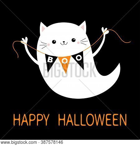 Flying Cat Ghost Spirit Holding Bunting Flag Boo. Happy Halloween. Cute Cartoon Kawaii Spooky Baby C