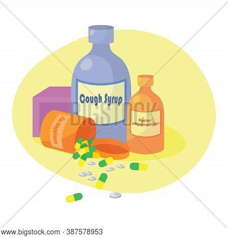 Drugs Icons: Pills, Capsules Ans Prescription Bottles. Medicine Vector In Modern Flat Cartoon Style.