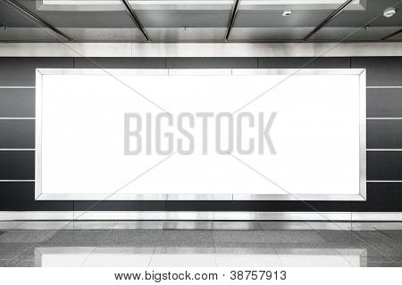 Blank billboard in modern interior hall useful for advertising