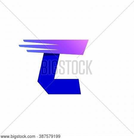 C Letter Logo With Fast Speed Lines Or Wings. Corporate Branding Identity Design Template With Vivid