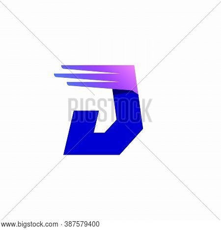 J Letter Logo With Fast Speed Lines Or Wings. Corporate Branding Identity Design Template With Vivid