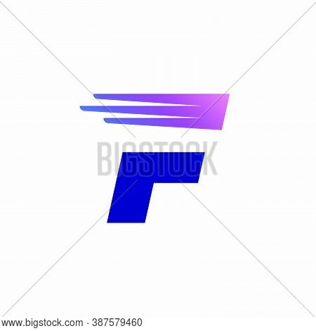 F Letter Logo With Fast Speed Lines Or Wings. Corporate Branding Identity Design Template With Vivid