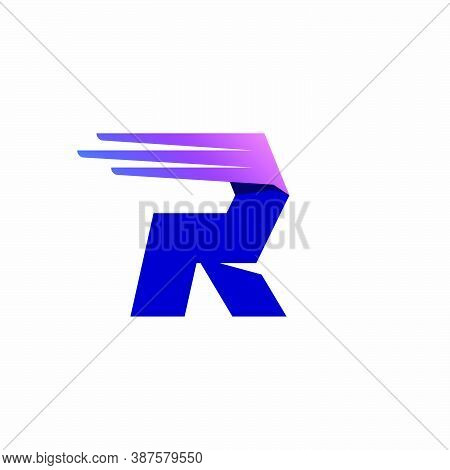 R Letter Logo With Fast Speed Lines Or Wings. Corporate Branding Identity Design Template With Vivid