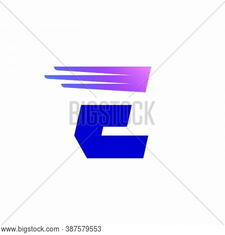 E Letter Logo With Fast Speed Lines Or Wings. Corporate Branding Identity Design Template With Vivid