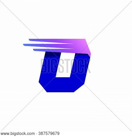 O Letter Logo With Fast Speed Lines Or Wings. Corporate Branding Identity Design Template With Vivid