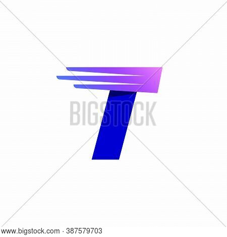 T Letter Logo With Fast Speed Lines Or Wings. Corporate Branding Identity Design Template With Vivid