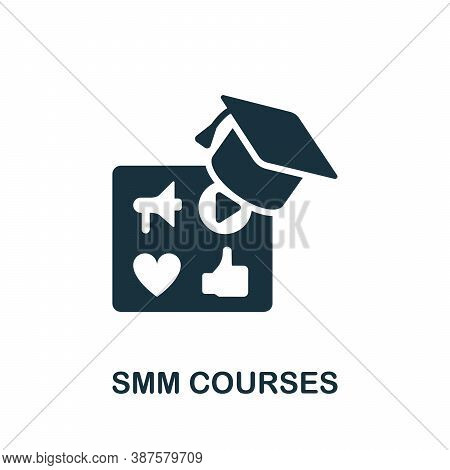 Smm Courses Icon. Simple Element From Online Course Collection. Creative Smm Courses Icon For Web De