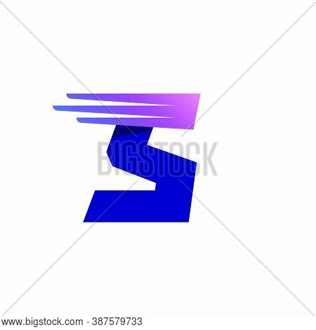 S Letter Logo With Fast Speed Lines Or Wings. Corporate Branding Identity Design Template With Vivid