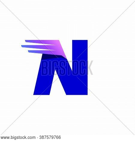 N Letter Logo With Fast Speed Lines Or Wings. Corporate Branding Identity Design Template With Vivid