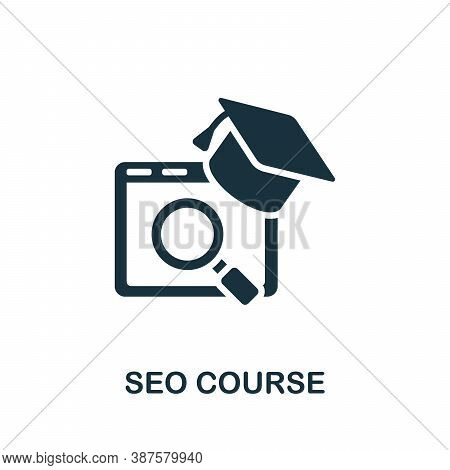 Seo Course Icon. Simple Element From Online Course Collection. Creative Seo Course Icon For Web Desi