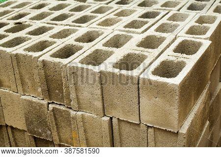 Concrete Block, Cinder Blocks, Breeze Blocks, Hollow Blocks, Besser Blocks Or Besser Bricks Wall Bac