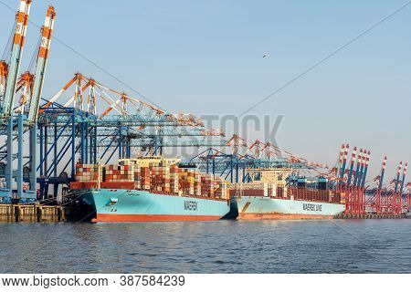 Bremerhaven, Geramny - September 15, 2020: Two Maersk Container Ships At The Eurogate Container Term