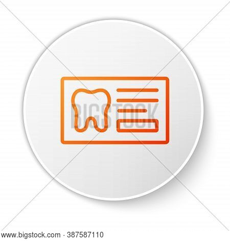 Orange Line Clipboard With Dental Card Or Patient Medical Records Icon Isolated On White Background.