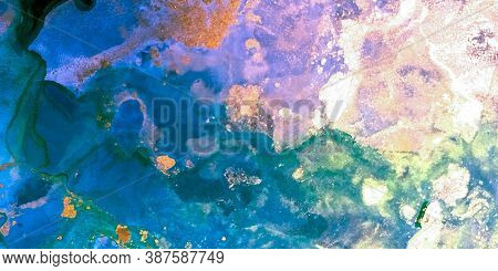 Hand-painted Design. Fluid Pattern. Marble Swirl. Pink, Blue Hand-painted Design. Alcohol Ink Artwor