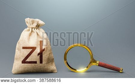 Polish Zloty Money Bag And Magnifying Glass. Most Favorable Conditions For Deposits, Loans. Financia