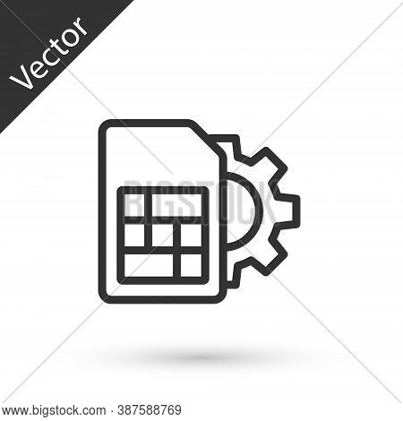 Grey Line Sim Card Setting Icon Isolated On White Background. Mobile Cellular Phone Sim Card Chip. M