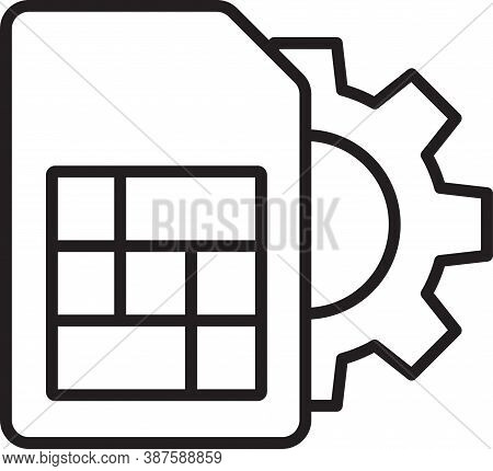 Black Line Sim Card Setting Icon Isolated On White Background. Mobile Cellular Phone Sim Card Chip.