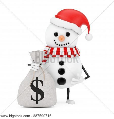 Snowman In Santa Claus Hat Character Mascot With Tied Rustic Canvas Linen Money Sack Or Money Bag Wi