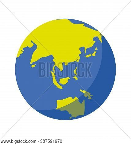 Earth Globe - Facing South East Asia - Flat - Vector Icon Isolated