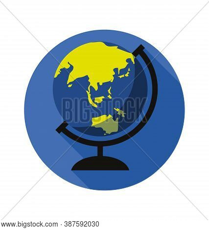 Earth Globe In Stand - Facing South East Asia - Flat - Vector Icon Isolated