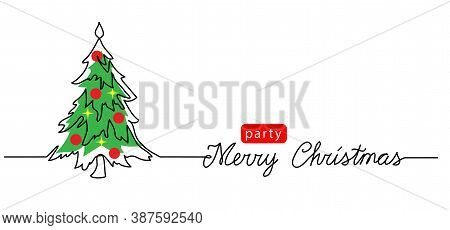 New Year Tree One Continuous Line Drawing With Lettering Merry Christmas. Minimalist Tree Web Banner