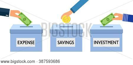 Financial Planning Concept Vector Illustration On White Background. Hands Putting Money In Boxes Of