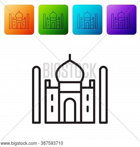 Black Line Taj Mahal Mausoleum In Agra, Indiaicon Isolated On White Background. Set Icons In Color S