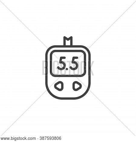 Diabetes Test Control Line Icon. Linear Style Sign For Mobile Concept And Web Design. Blood Glucose