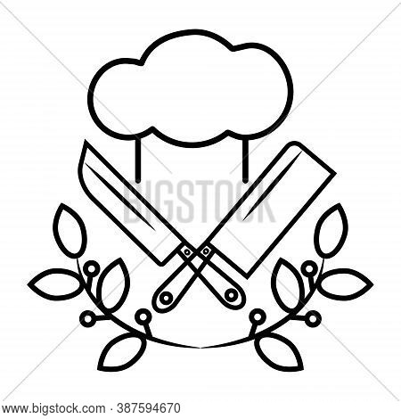 Chef Hat, Chef's Knife And Cleaver With Laurel Branches Icon Isolated On White Background. Modern Sy