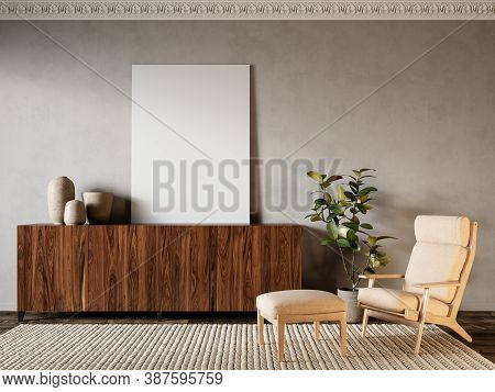 Beige Interior With Dresser, Lounge Chair And Decor. 3d Render Illustration Mock Up.